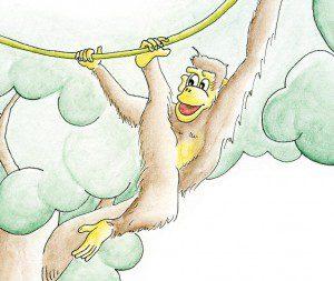 Affe schwingt sich mit einer Liane